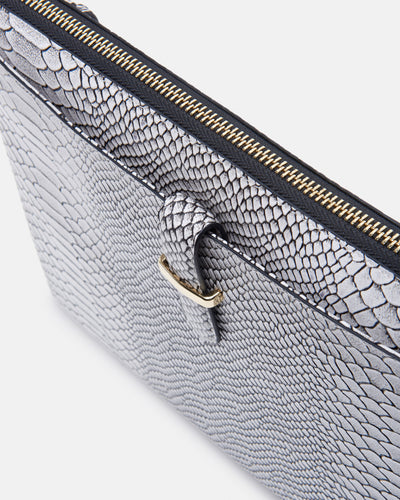 The Tycoon - Snake Embossed Leather Laptop Bag and Sleeve - Top Front View - She Lion
