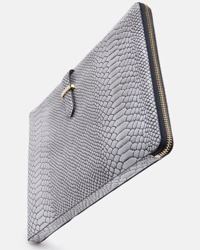 The Tycoon - Snake Embossed Leather Laptop Bag and Sleeve - Stylised Side View - She Lion