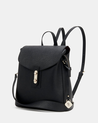 The Visionary - Black Leather Laptop Backpack - Front View with Straps - She Lion