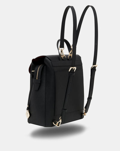 The Visionary - Black Leather Laptop Backpack - Long Straps - She Lion