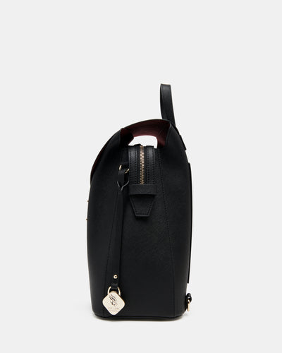 The Visionary - Black Leather Laptop Backpack - Side View - She Lion