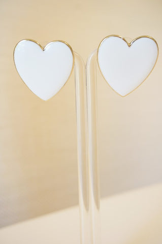 White Heart Stud Earrings