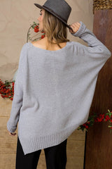 Grey Hi Low Knit Sweater