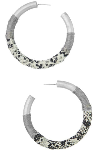 Snakeskin Wrapped Hoops (Multiple Colors)