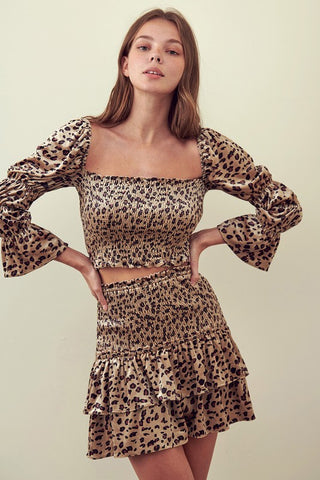 Square Neck Leopard Smock Top