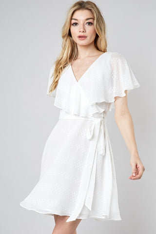White V-Neck Wrap Dress