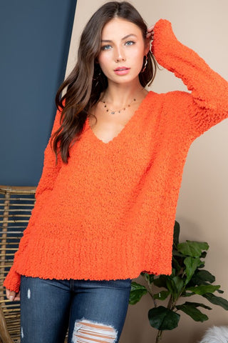 Orange V-Neck Popcorn Sweater