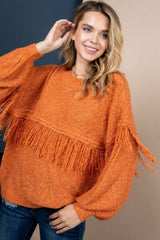 Rust Tassel Sweater