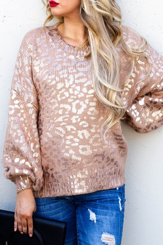 Gold Leopard Printed Balloon Sleeve Sweater