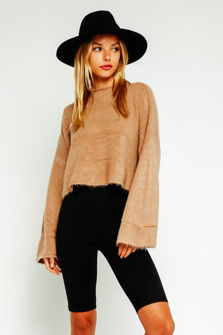 Fuzzy Mock Neck Crop Sweater