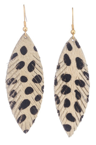 Ivory Animal Print Earrings