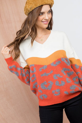 Orange Leopard Color Block Sweater
