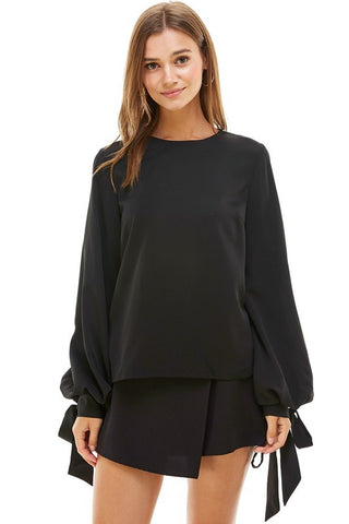 Black Balloon Tie Sleeve Top