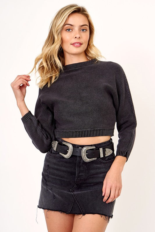 Charcoal Cropped Sweater