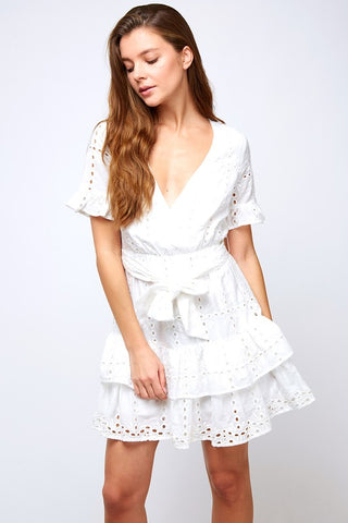 White Ruffled Eyelet Dress