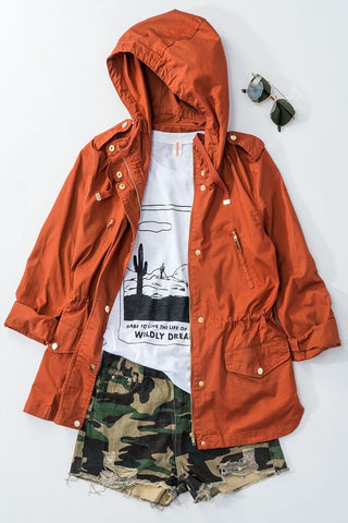 Hooded Jacket with Side Pockets