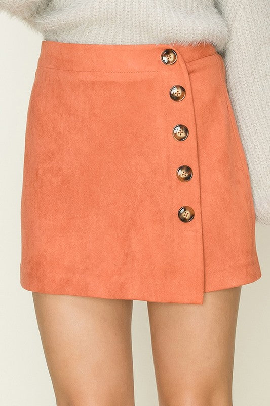 Side Button Detail Suede Skort in dark coral