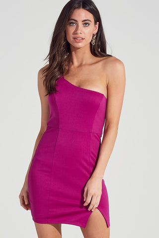One Shoulder Berry Dress