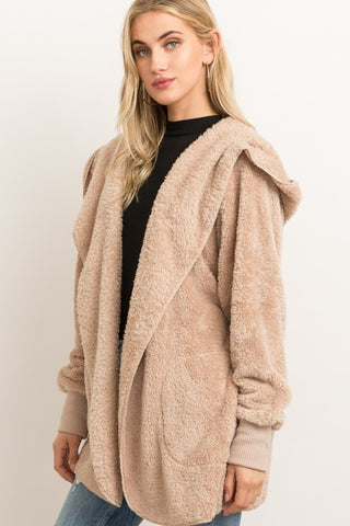 Faux Fur Jacket w/ Hood