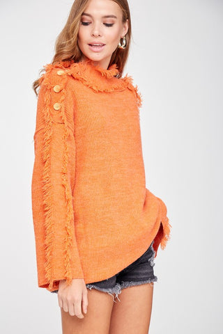 Shoulder Button Trim With Fringe Detail Sweater