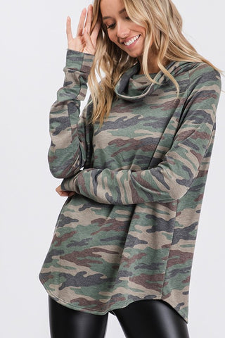 Camouflage Flowy Neck Top