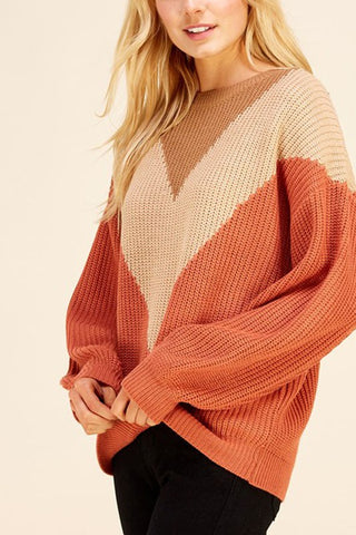 Orange Color Block Sweater