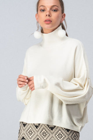 Ivory Drop Shoulder Turtleneck Sweater