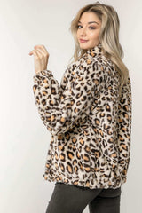 Leopard Zip-Up Jacket with Pockets