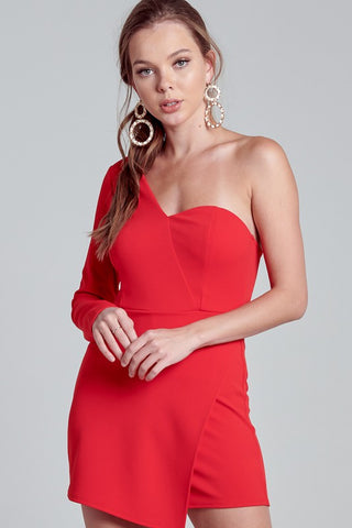 One Shoulder Wrapped Red Romper