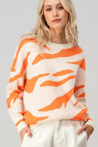 Orange Tiger Print Knit Sweater
