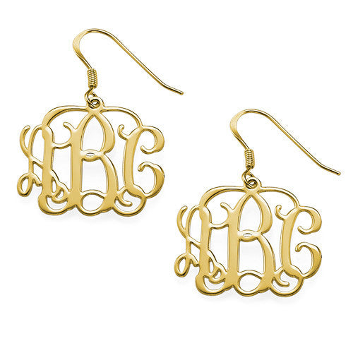 1 in. Drop Script Monogram Earrings