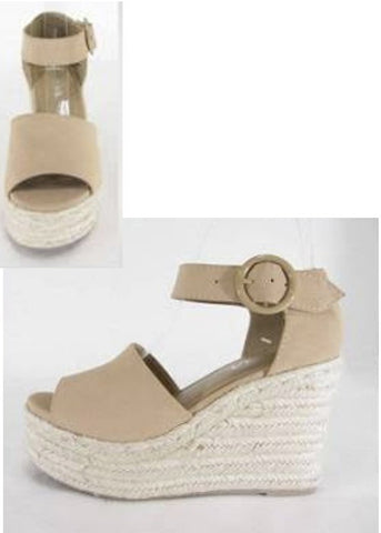 Taupe Ankle Strap Wedges