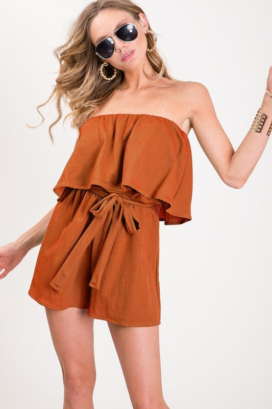 Tube Top Romper in Orange