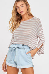3/4 Sleeve Fine Striped Summer Sweater