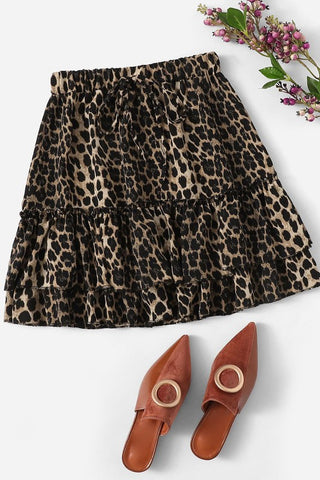 Brown Leopard Print Ruffle Skirt