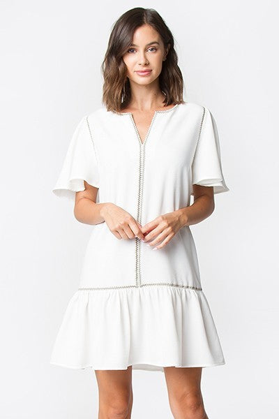CIRCLE NECKLINE EMBROIDERED RUFFLE SLEEVE DRESS IN WHITE