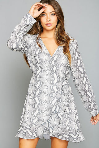 Snake Print Long Sleeve Wrap Dress