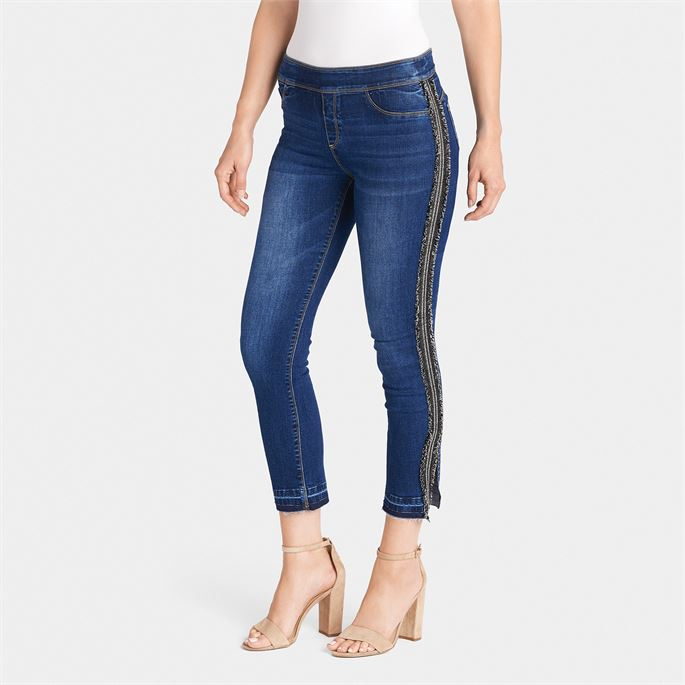 OMG Cropped Racing Stripe Jeans