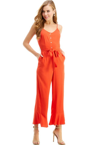 Orange Button Front Jumpsuit