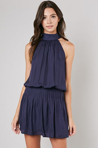 Navy Mock Neck Tie Dress
