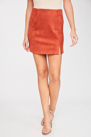 Front Slit Suede Skort in Burnt Orange