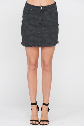 WASHED CAMO PRINT COTTON DENIM MINI SKIRT
