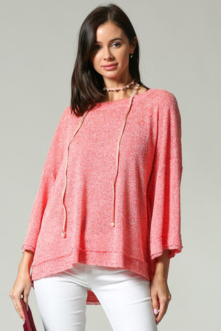 LOOSEFIT TOP WITH BACK RIBBON TIE Coral