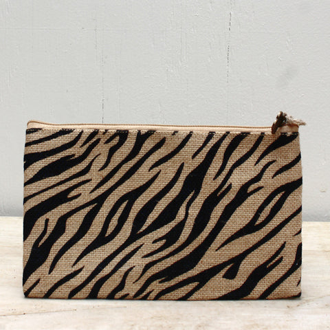 Tiger Stripe Jute Cosmetic Bag