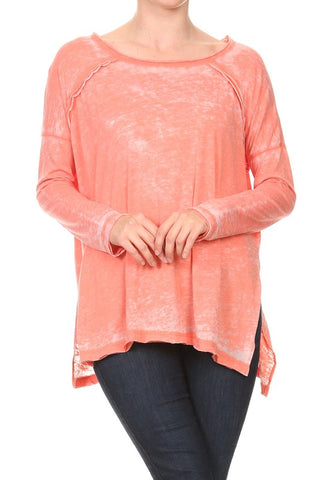 BURN OUT LONG SLV ROUND NECK TOP W/SIDE SLIT IN ORANGE/RED