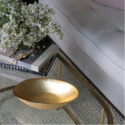 Glass Gold Foil Medium Oval Bowl