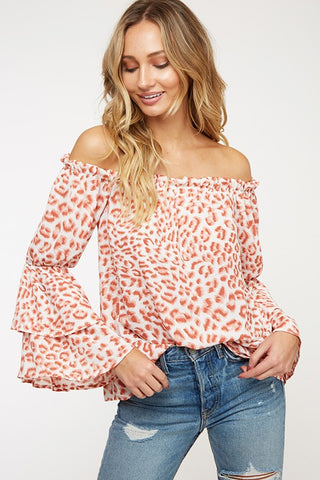 Animal Print Off Shoulder Woven Top
