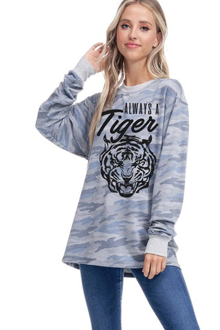 Always a Tiger Long Sleeve Pullover (Multiple Colors)