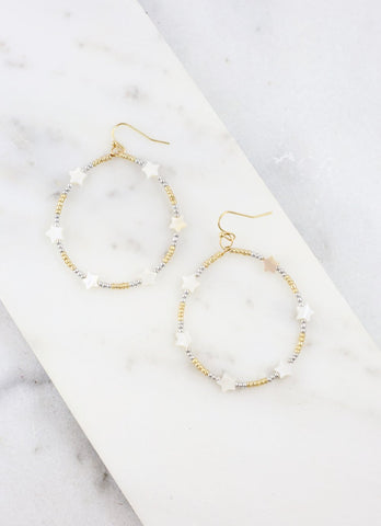 Round Beaded Hoops with Stars