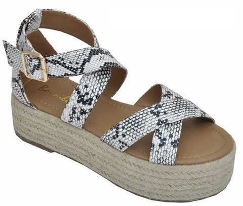 Platform Sandal Double Strap Crossed Snake